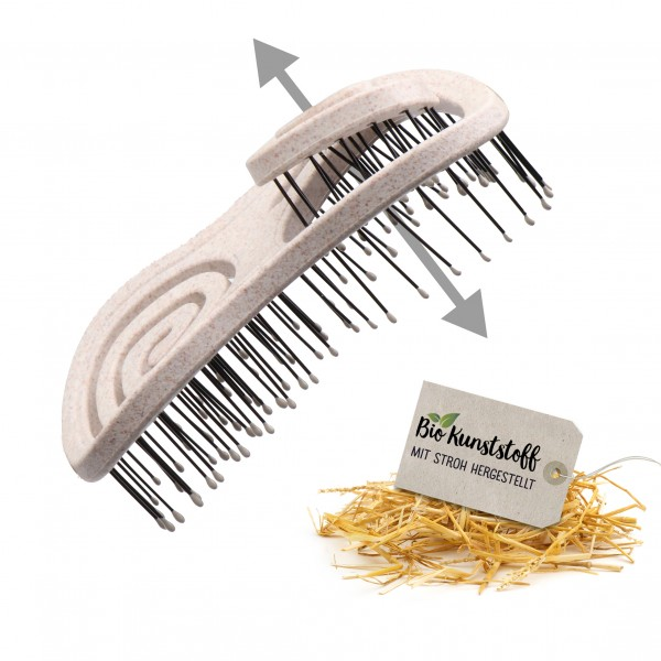 CHIARA AMBRA® Mini Bio Haarbürste mit Stroh, Natur