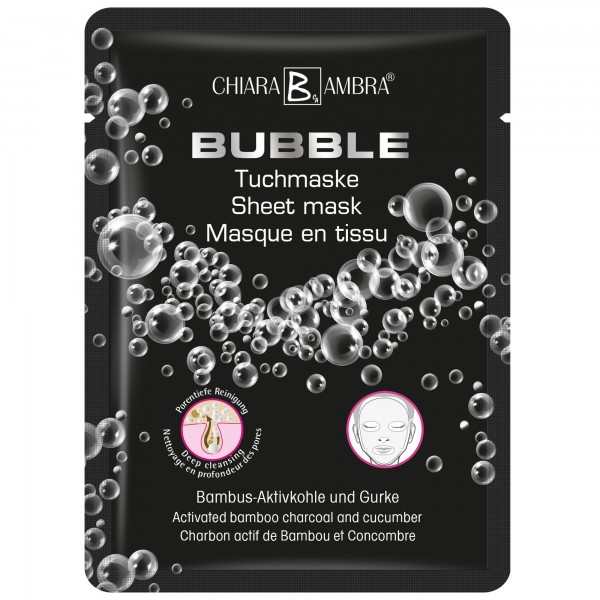 CHIARA AMBRA® BUBBLE sheet mask with activated bamboo charcoal and cucumber