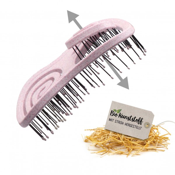 CHIARA AMBRA® Mini Organic Hairbrush with Straw, Pink
