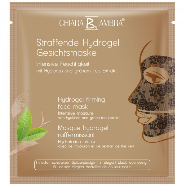 CHIARA AMBRA® Black Hydrogel firming face mask with lace design and gold shimmer effect