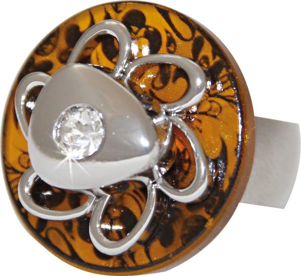 Ring SPIRIT, 18 mm, braun, mit funkelndem Einlegestein