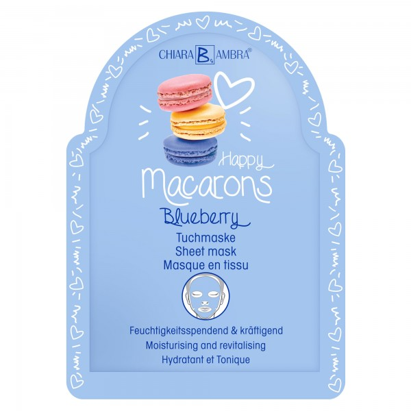 "CHIARA AMBRA® Moisturising and revitalising sheet mask ""Macarons-Blueberry"""