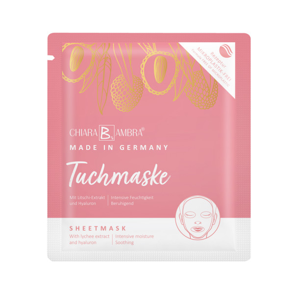 CHIARA AMBRA® sheet mask with lychee extract, MADE IN GERMANY