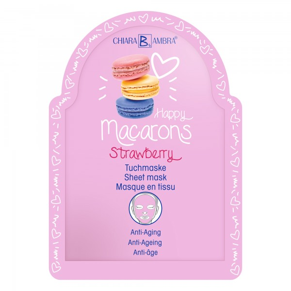 "CHIARA AMBRA® Anti-ageing sheet mask ""Macarons-Strawberry"""